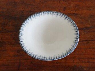 オーバル小皿(白/青)〈a〉の画像