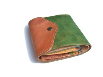 half wallet ピンク×グリーン 手染めの画像