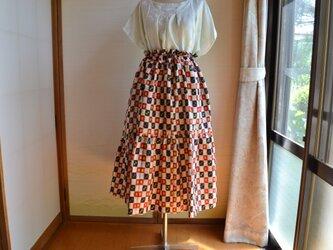 着物リメイク 銘仙 段違いギャザースカート J-22の画像