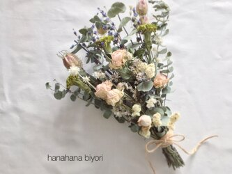 《送料無料》淡いピンクのバラとユーカリのブーケ・スワッグ ※ラッピングは別途ご購入お願いしますの画像