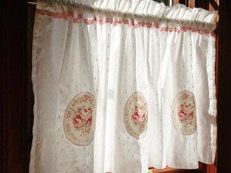 薔薇のアップリケ♪カフェカーテン ピンク レース 101cm×44.5cmの画像