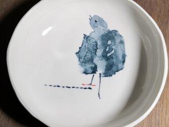 丸皿(鳥、黄昏)の画像