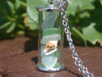 シーグラス ボトル ネックレスの画像