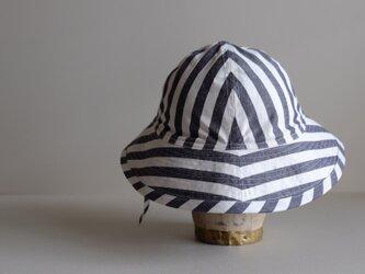 帽子 しましま 綿麻 高密度ウェザークロス 【 生成り と 紺 】テントな帽子 リボンタイプ <受注制作>の画像