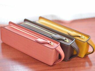 革製 ペンケース 【レクタングラー M ポケット付き】の画像