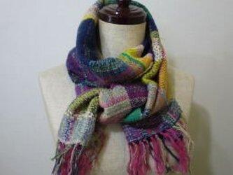 《手織り》色とりどり コットンウールマフラーの画像