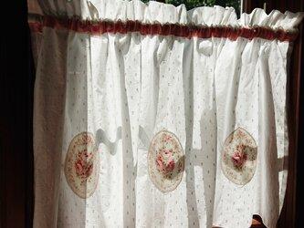 薔薇のアップリケ♪カフェカーテン ピンク リボン 101cm×44.5cmの画像