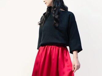 サテン風 ルビーレッド ロングスカート ●ANNETTE-RUBY●の画像