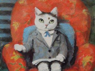 赤いソファのねこ/h-geの画像