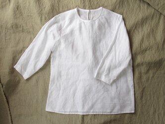 【受注製作】リネン プルオーバー8分袖/white/13号(M)の画像