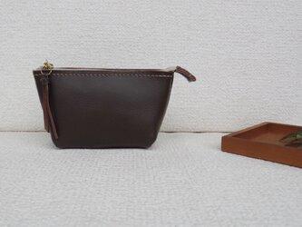 本革ミニポーチ⑥(brown 2)の画像