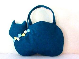 新色*スラブリネン お花の猫バッグ ターコイズブルーCの画像