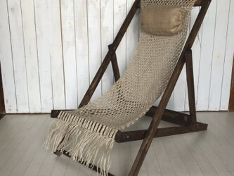 macrame dek  chair ② 麻枕付きマクラメデッキチェアの画像