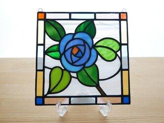 ステンドグラス ミニパネル ブルーローズ 15cmの画像