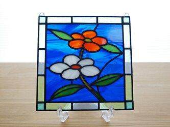ステンドグラス ミニパネル 小さな花 15cmの画像