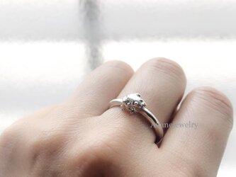 小さな小さなカエルの指輪 シルバー製の画像