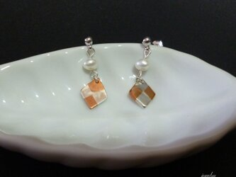 SQUARE small pearl - earringsの画像