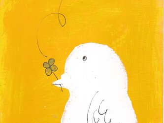 ハトとクローバーの画像