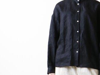 シャドーリネン・ラッフル襟・ブラウス/ブラックの画像