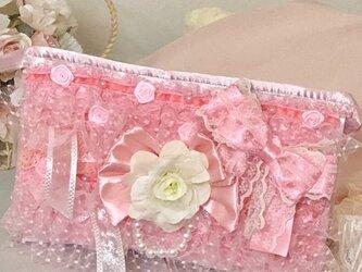 レース&リボン 可愛いを全部詰め込んだ 甘ロリポーチ 化粧ポーチ 小物入れ 姫ロリ  【pd-001】の画像