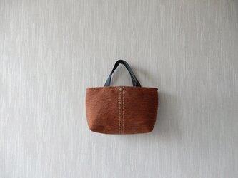 裂き織りのバッグS  錆色の画像