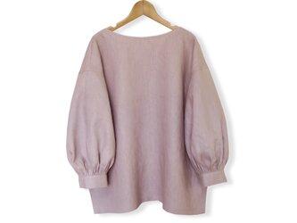 リネン100%ボリューム袖ボートネック7分袖丈プルオーバー_smoky lavender pinkの画像
