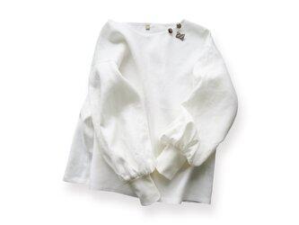 リネン100%ボリューム袖ボートネック長袖プルオーバー_Whiteの画像