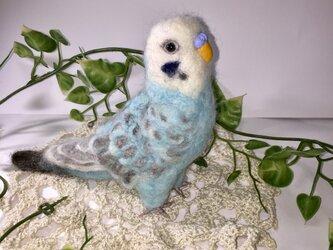 ☆受注制作 羊毛フェルトのセキセイインコ♪オパーリンブルーの画像