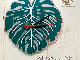 【文字入れオーダー】「モンステラ」壁掛け時計 Wall clock 連続秒針の画像