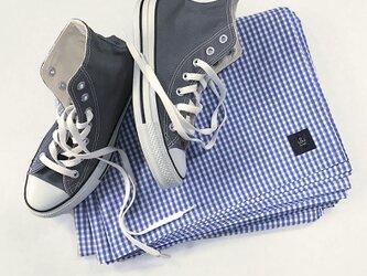 ★送料無料★ LOUオリジナル ピクニッククロス ギンガムチェック ビーチマット ブルー×ホワイトの画像