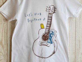 ギターと黄色い小鳥のTシャツ 【白/グレー】*再販*の画像