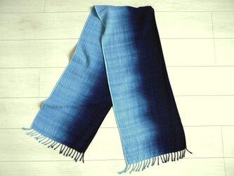 ◆100%自然素材 天然灰汁発酵建て 本藍染◆ グラデーション染め コットンストールの画像