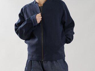 【wafu】中厚 リネン MA-1 2重仕立て フライトジャケット ブルゾン 男女兼用 / ネイビー h048b-neb2の画像