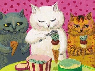 カマノレイコ オリジナル猫ポストカード「アイスクリーム」2枚セットの画像