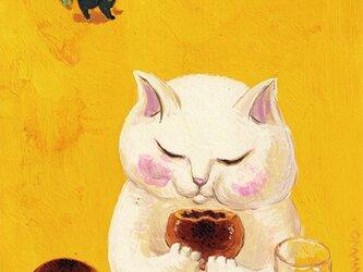 カマノレイコ オリジナル猫ポストカード「あんぱん」2枚セットの画像