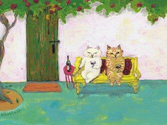 カマノレイコ オリジナル猫ポストカード「お外でワイン」2枚セットの画像