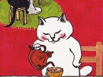 カマノレイコ オリジナル猫ポストカード「ドリップ」2枚セットの画像