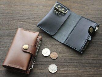 栃木レザー☆キーケースにもコインケースにもカードケースにもなる『キーコインケース』本革 日本製 名入れ無料の画像