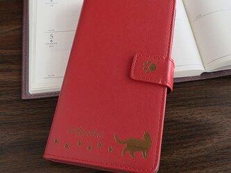 ★秋色★猫とあしあとiPhoneXR手帳型ケース(レッド)の画像