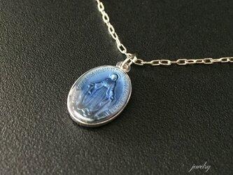 フランス奇跡のメダイのネックレス - Blue silverの画像
