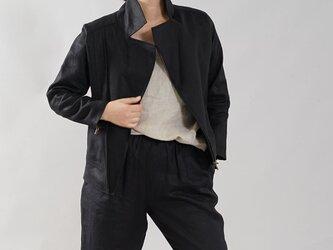 【wafu】中厚 リネン ライダースジャケット 羽織 2重仕立て 裏地リネン アウター / ブラック h047a-bck2の画像
