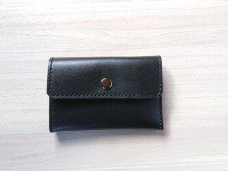 *受注生産* 三つ折りコイン/カードケース ピアノレザー(黒)/ピッグスエード(黒)の画像