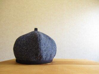 てっぺんに輪っか、ベレー帽 ネイビーのキルティング風の画像
