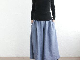 リネン ギャザーワイドパンツ キュロット (スモーキーブルー)の画像