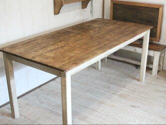 シャビーなダイニングテーブル160 アンティークホワイト ダメージ加工 エイジングの画像