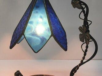 「グレープランプ 青」ステンドグラスランプ・照明・ブルーの画像