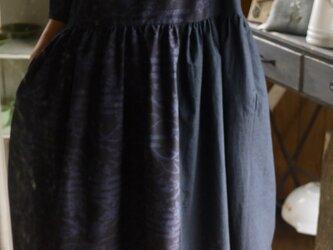正絹結城紬藍染と濃紺無地反物からギャザースカートワンピースの画像