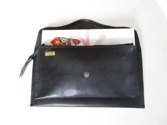 イタリア革の長財布・クラッチバッグ(黒)❤︎受注制作・カスタマイズ❤︎の画像