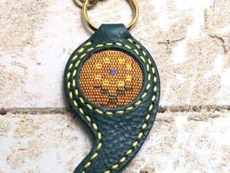 織玉 レザーキーホルダー アリゾナターコイズ×読谷花織 黄色 神の島塩入りの画像
