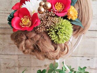 和モダン 椿とマムの髪飾り12点Set No598の画像